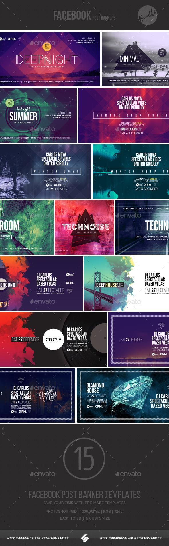 Electronic Music Event Facebook Post Banner Templates Bundle By Sao - Facebook posting schedule template