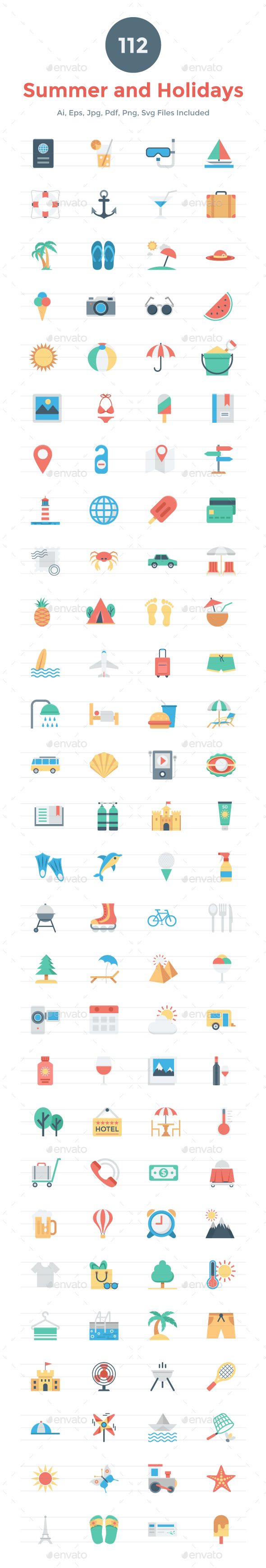 112 Flat Summer and Holidays Icons - Icons