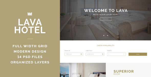 LAVA - Luxury Hotel PSD Template - Travel Retail
