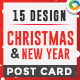 Christmas and New Year Post Cards - 15 Designs - Images Included