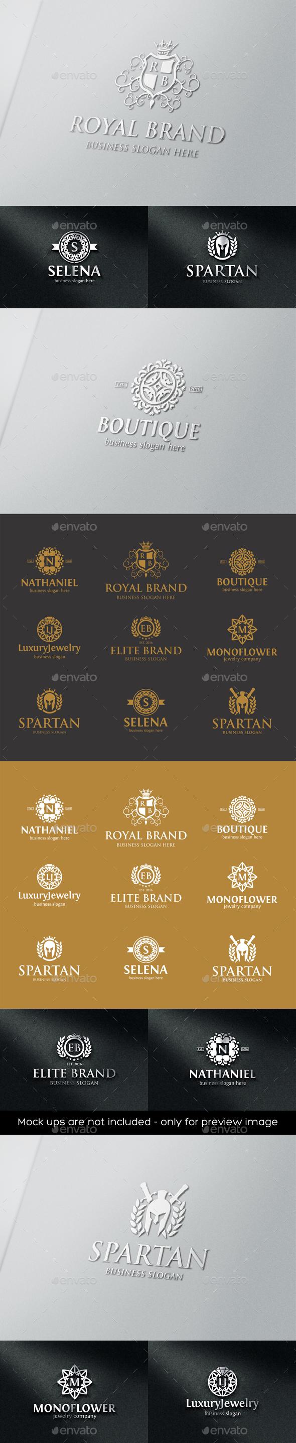 Luxurious Elegant Vintage Boutique Logo Badges - Badges & Stickers Web Elements