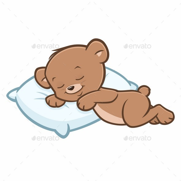 Cartoon Teddy Bear Sleeping - Animals Characters