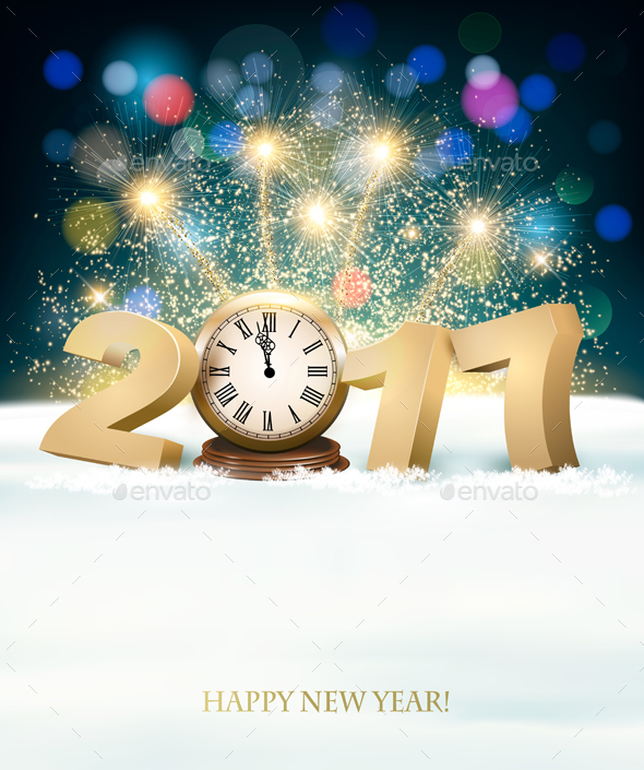 New Year Background with a 2017 and Clock - New Year Seasons/Holidays