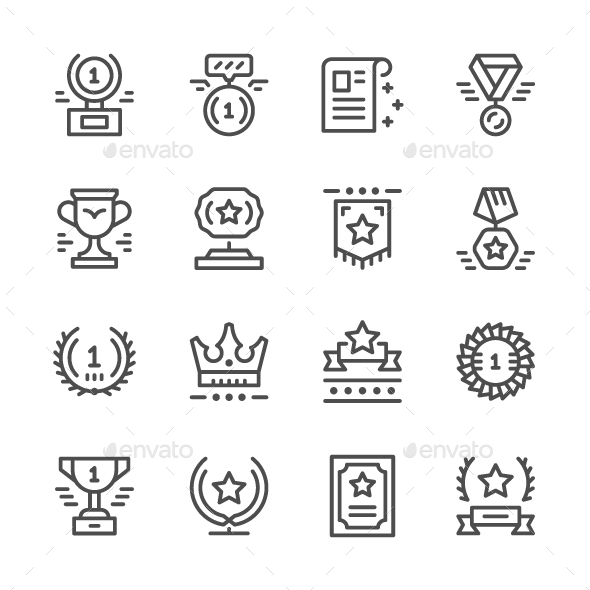 Set Line Icons of Award - Abstract Icons