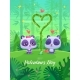 Romantic Couple Panda. Vector Cute Illustration. - GraphicRiver Item for Sale