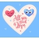Two Cute Hearts in Love. Vector  Illustration. - GraphicRiver Item for Sale
