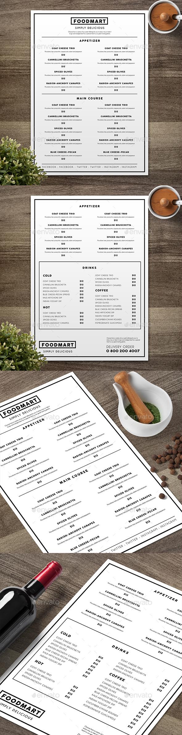 Simple Restaurant Menu 04 - Food Menus Print Templates