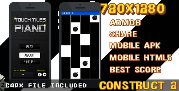 Touch Tiles Piano +Admob + Share + APK + html5 + (.CAPX) - CodeCanyon Item for Sale