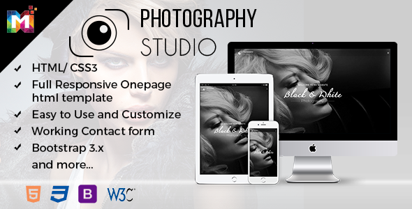 Responsive One Page Photography Template