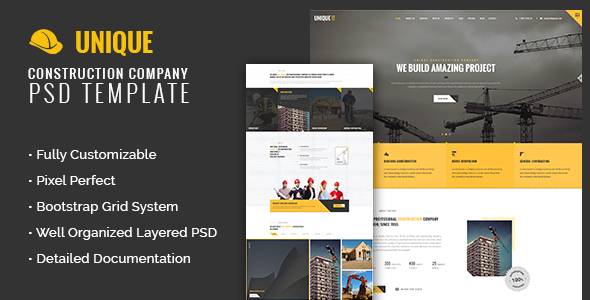 UNIQUE – Construction Company PSD Template