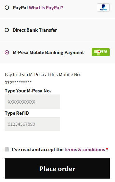 M-Pesa Mobile Payment for WooCommerce