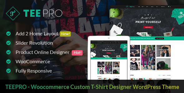 TEEPRO - Woocommerce Custom T-Shirt Designer WordPress Theme - Retail WordPress