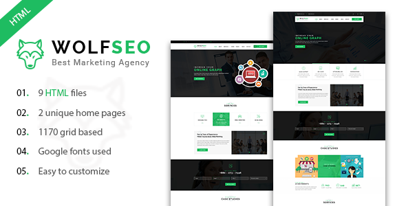 WOLFSEO – Digital Marketing Agency HTML Template
