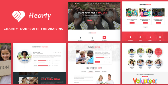 Hearty – Charity, NonProfit, FundRaising WordPress Theme