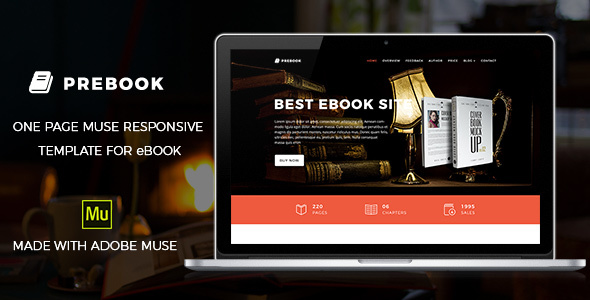 Prebook – eBook Landing Page Muse Template