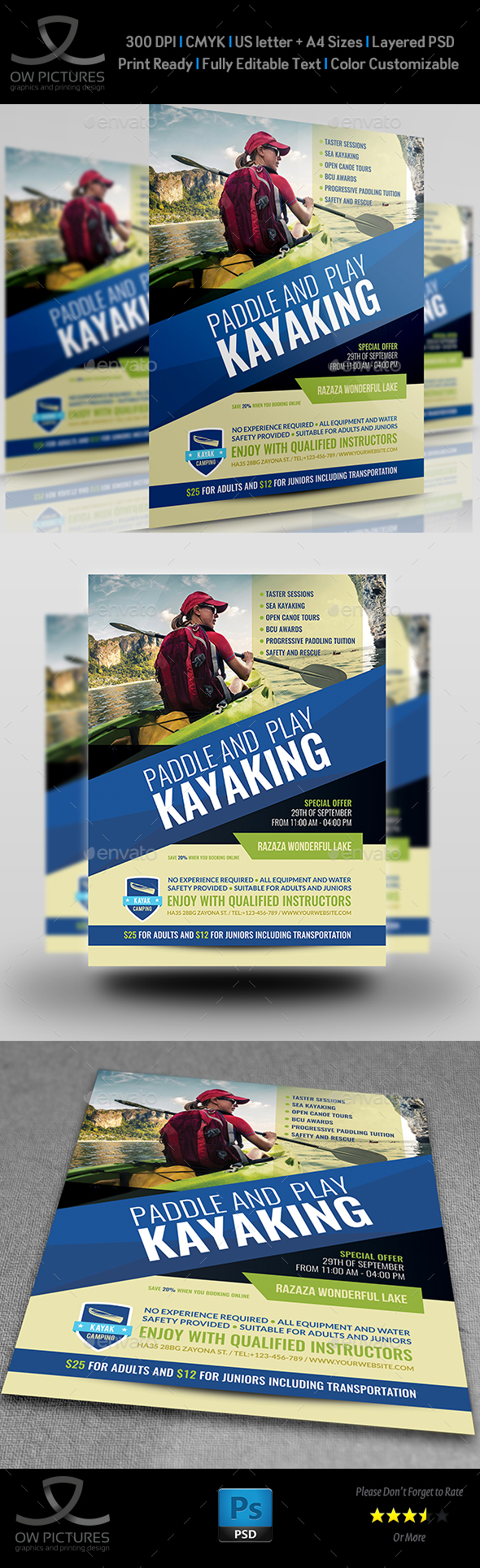 Kayaking Flyer Template - Sports Events