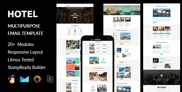 Hotel –  Responsive Email Template with Stampready Builder Online Access