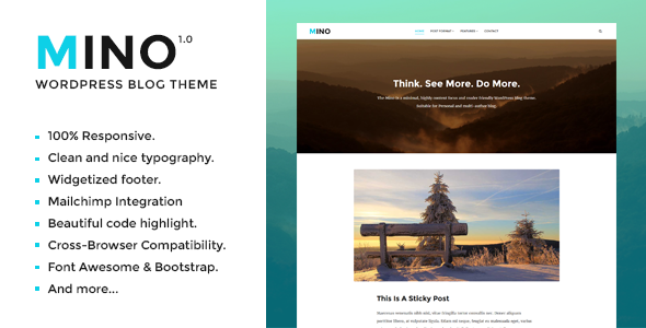 Mino Blog – Content Focused WordPress Blog Theme