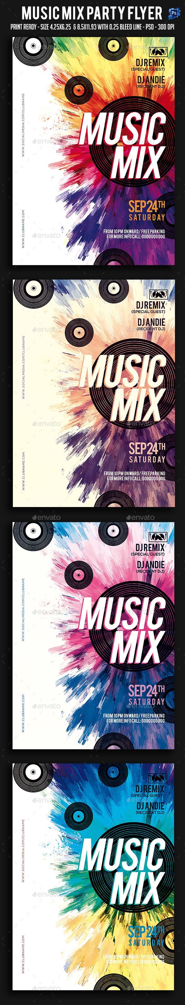 Music Mix Party Flyer - Clubs & Parties Events