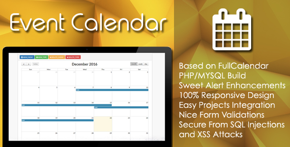 Event Calendar - Php/Mysql Plugin By Ezcode | Codecanyon