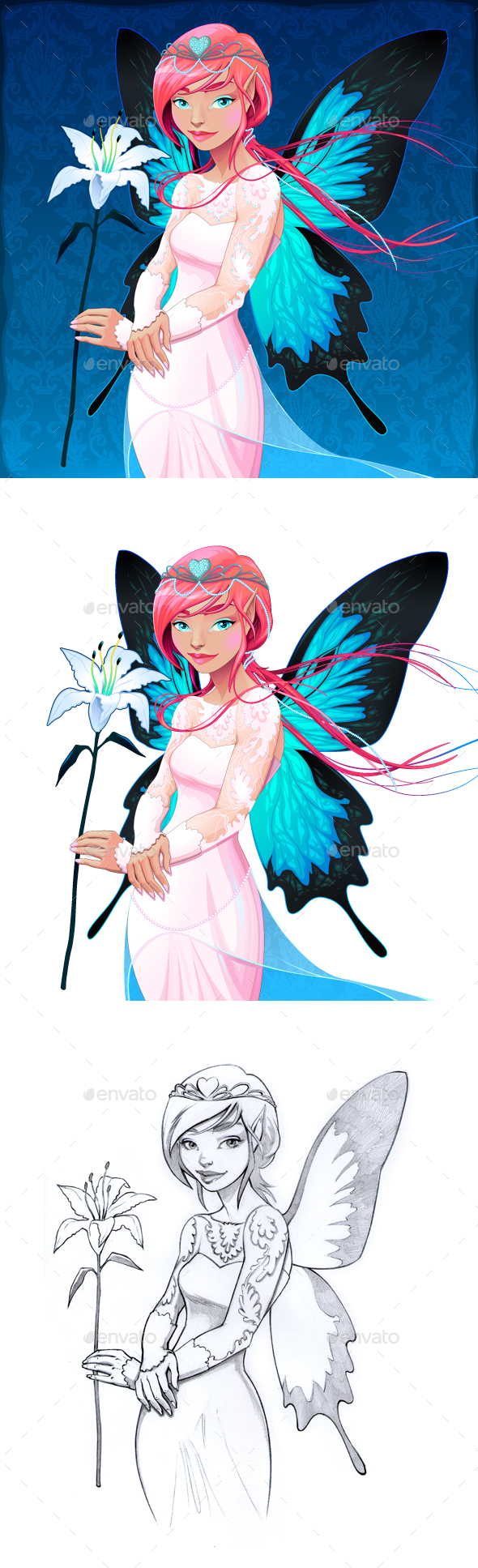 Portrait of a Young Fairy with a Wedding Dress and Lilium - Weddings Seasons/Holidays