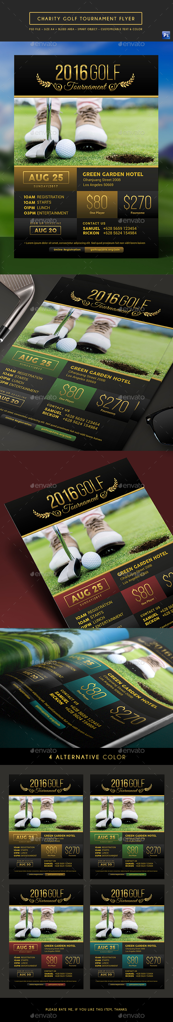 Elegant Charity Golf Tournament Flyer - Sports Events