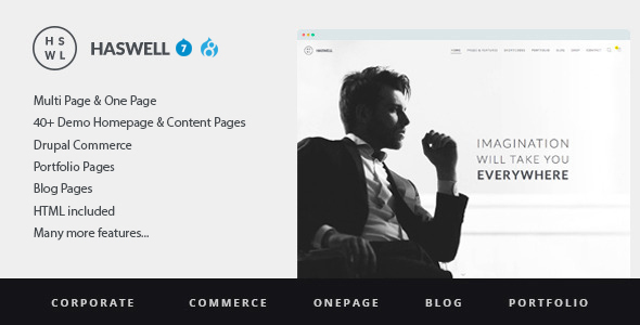 Haswell - Multipurpose One&MultiPage Drupal 7 & 8 Theme