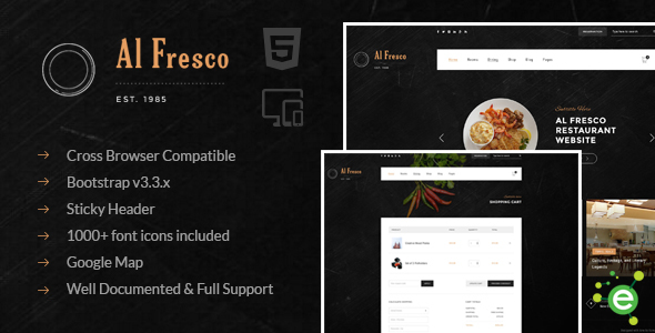 Al Fresco – An eCommerce Restaurant Responsive HTML Template - Restaurants & Cafes Entertainment