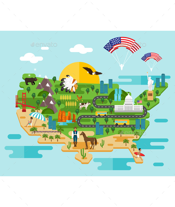 Infographics About America - Travel Conceptual