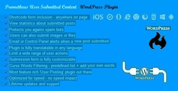 Prometheus User Submitted Content Plugin for WordPress - CodeCanyon Item for Sale
