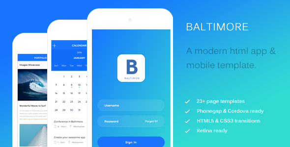 Baltimore - HTML Mobile Template