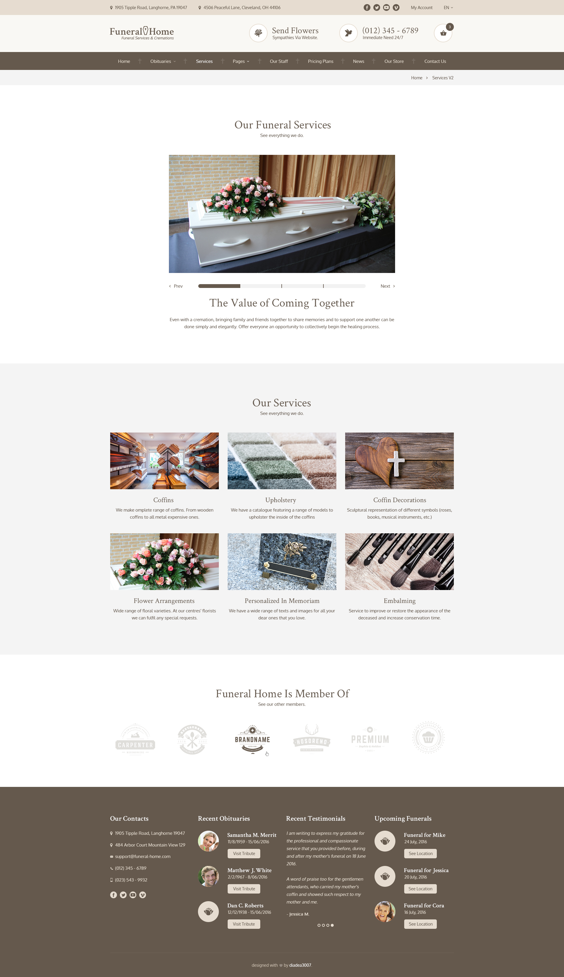 Funeral Home   Funeral Services U0026 Cemetery PSD Template