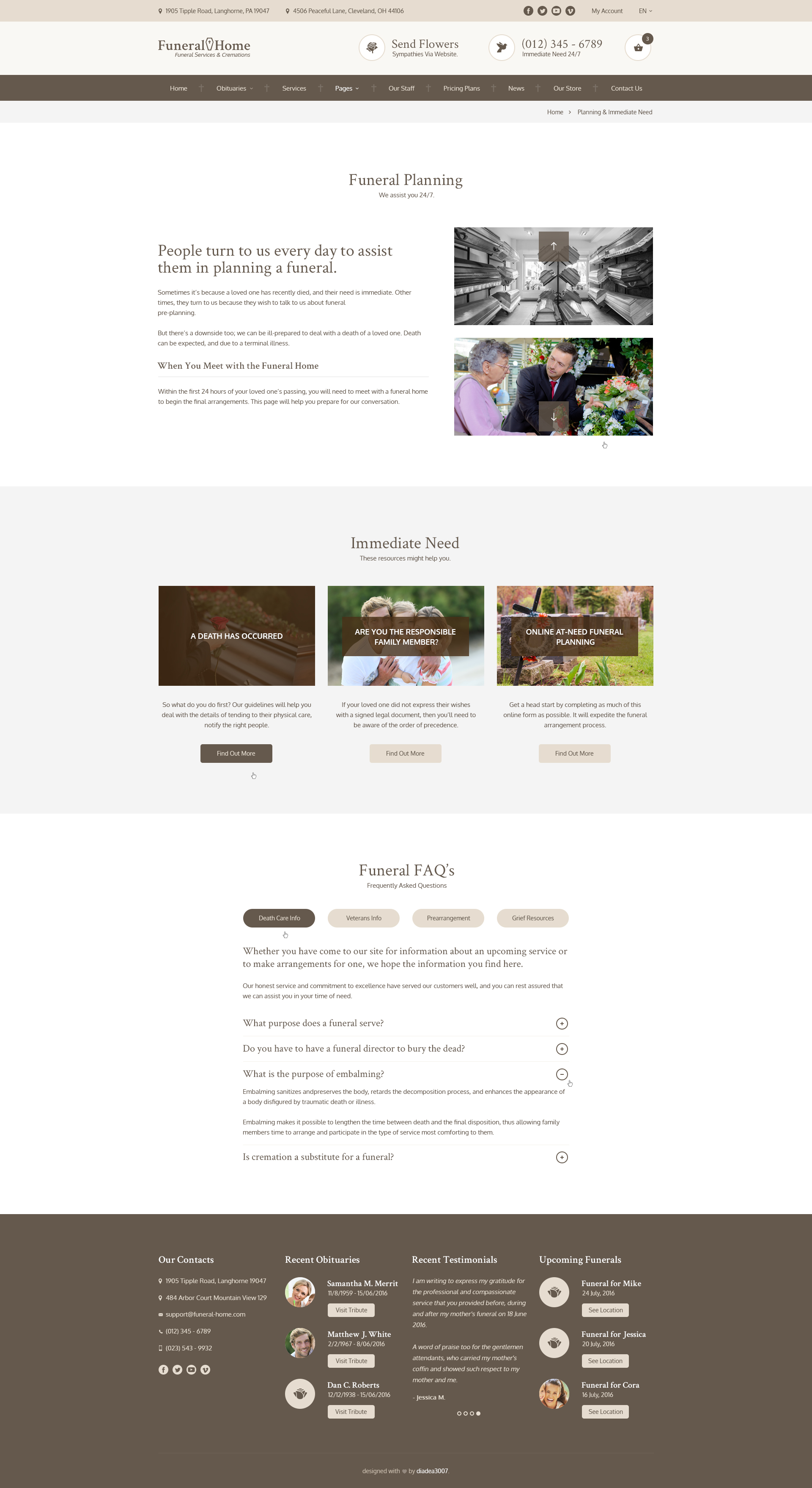 funeral home - funeral services & cemetery psd templatediadea3007