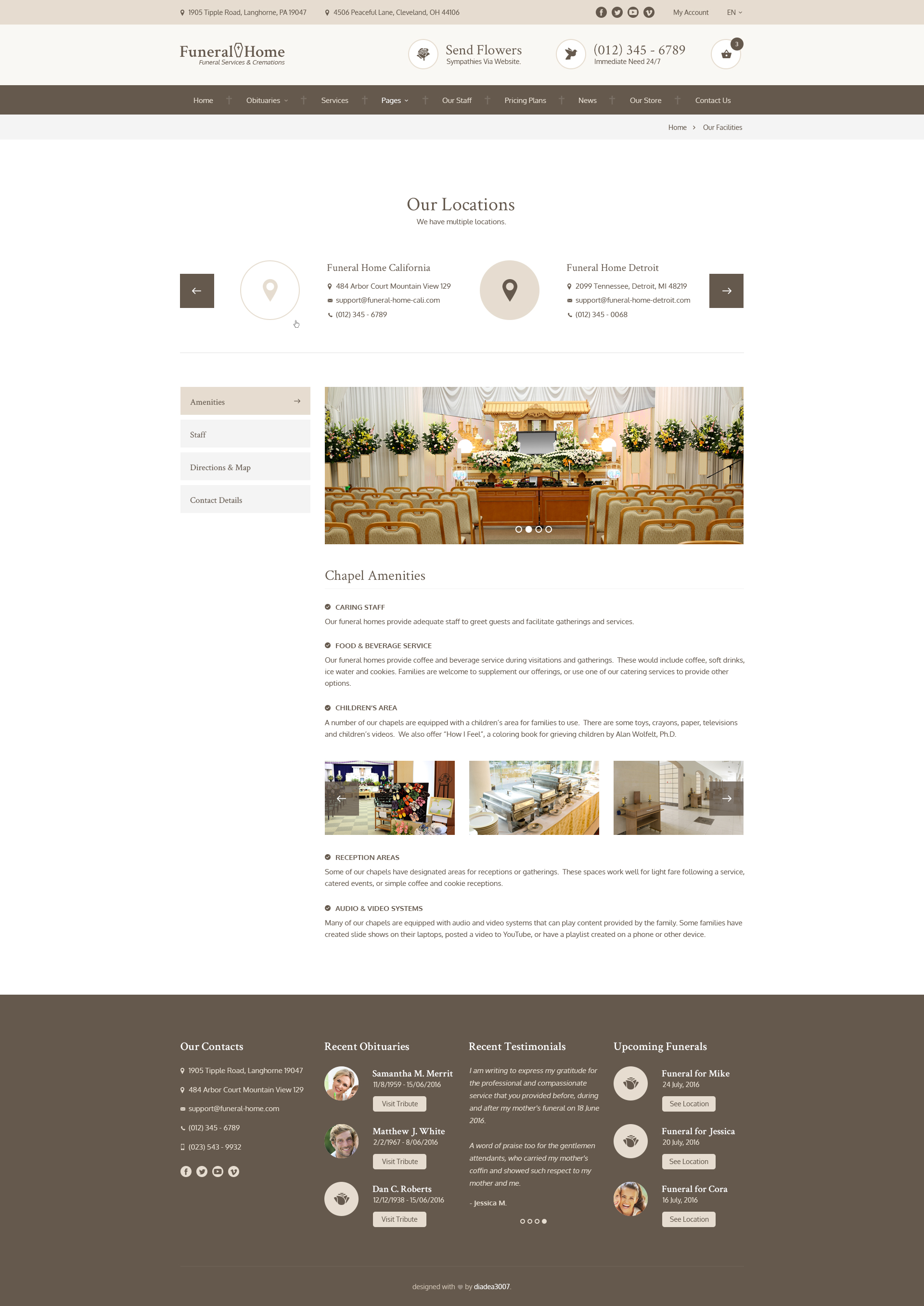 Funeral Home - Funeral Services & Cemetery PSD Template by diadea3007