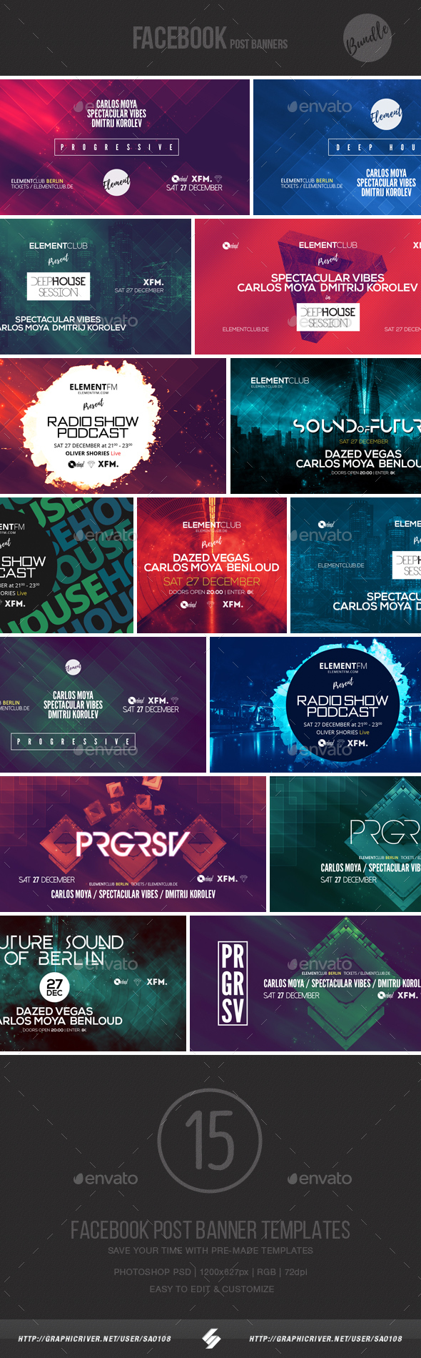 Electronic Music Event Facebook Post Banner Templates Bundle 2 - Social Media Web Elements