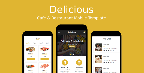 Delicious - Cafe & Restaurant Mobile Template