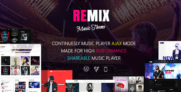Remix – Music band and Musician AJAX WordPress Theme
