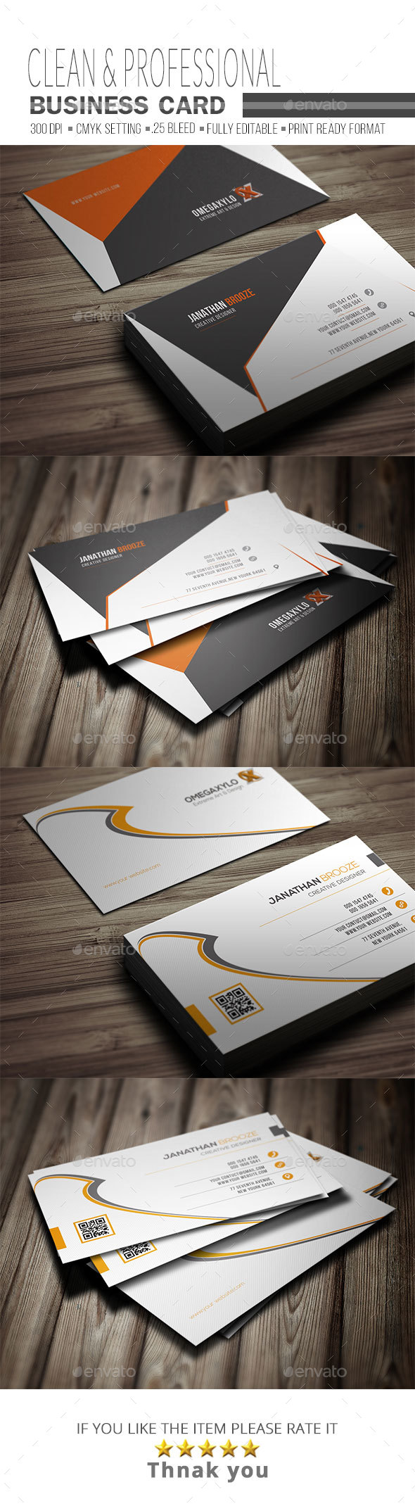 Business Card Bundle ( 2 In 1 } - Corporate Business Cards