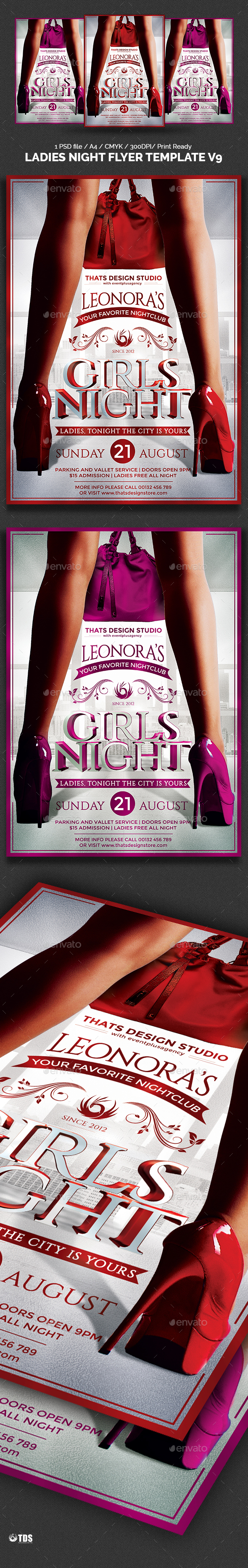 Ladies Night Flyer Template V9 - Clubs & Parties Events