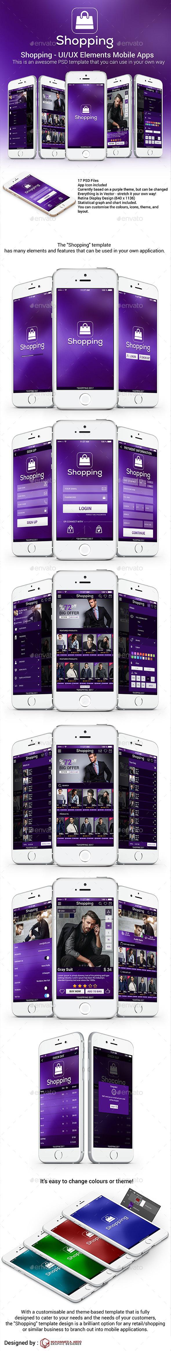 Shopping - UI/UX Elements Mobile Apps - Web Elements