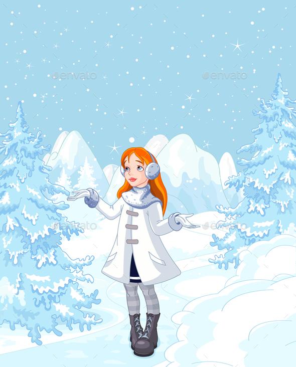 Cute Girl Enjoying a Snowfall - Characters Vectors