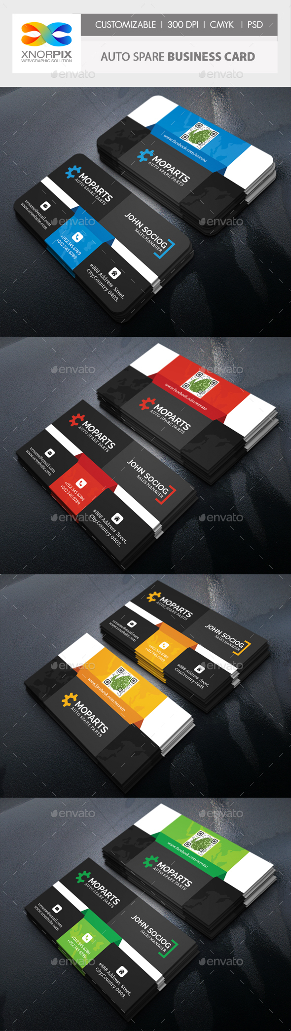 Auto Spare Business Card - Corporate Business Cards