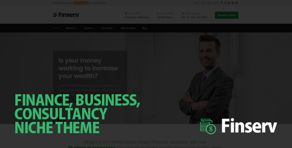 Finserv - Finance, Business Consultancy WordPress Theme - Business Corporate