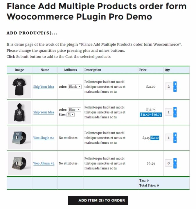 Flance Add Multiple Products Order Form Pro Woocommerce Plugin By