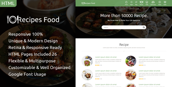 Recipes Food – Food Recipes HTML Template