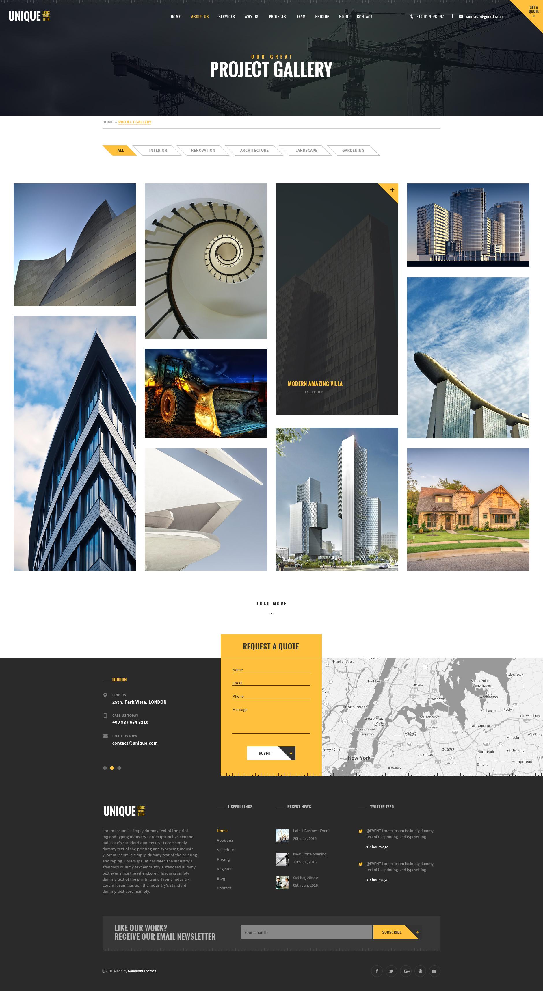 UNIQUE - Construction Company PSD Template by Kalanidhithemes ...