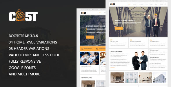 CAST – Construction & Industrial Responsive Corporate HTML5 Template