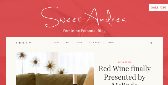 Sweet Andrea – Personal WordPress Blog theme