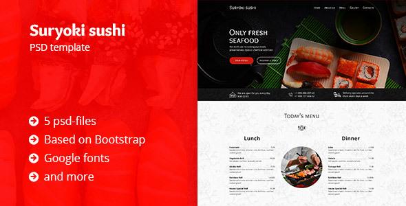 Suryoki Sushi – Restaurant PSD Template