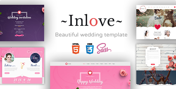 Inlove – Beautiful & Awesome Wedding Template Build With SASS.